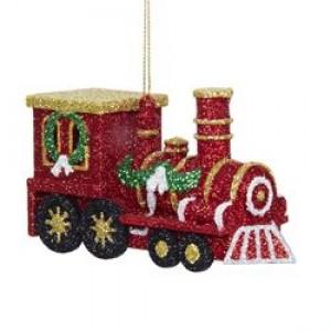 "2.75"" Plastic Glittered Red Train Ornament"
