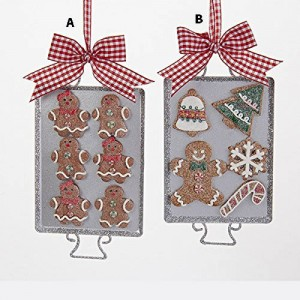 """6"""" Metal Tray with Claydough Gingerbread Ornament"""