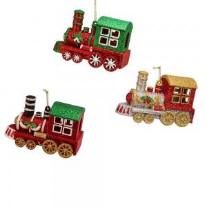 """4.7""""Blow Mold Glttr Train Orn 3/A"""