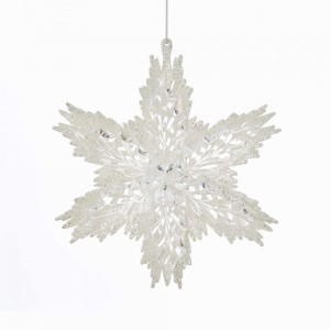 """6""""Acrylic White/Clear Snowflake Orn"""