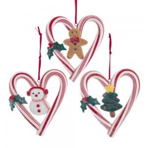 """3.9""""Claydgh Candycane Heart Orn 3/A"""