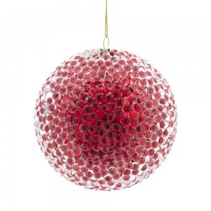 90Mm Red Bead Ball Orn