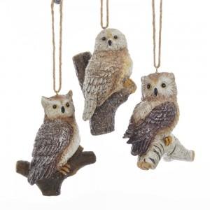 Resin Nature Owl Orn 3/Asstd
