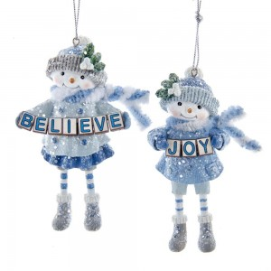"3.63""Blue Snowgirl Joy/Believe Orns"
