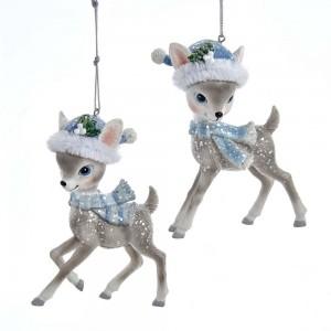 """4.25""""Gray Deer W/Blue Santa Hat 2/A"""