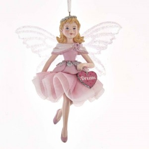 "5""Pink Fairy W/Clr Irid Wings Orn"