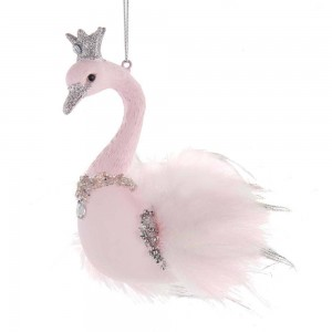 "4.5""Glass Pink Swan Orn"
