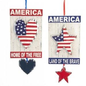 """4.5""""Americana Heart/Star Plaques 2A"""
