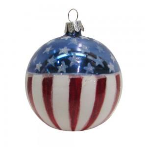 80mm USA Flag Glass Ball Ornament