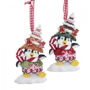 """3.5""""Penguin W/Gingerbrd Hat Orn 2/A"""