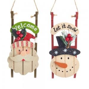 """6""""Santa/Snowman Head Sled Orns 2/A"""