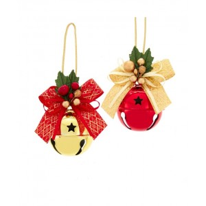 """6.5""""Red/Gold Bell W/Ribbon Orn 2/A"""
