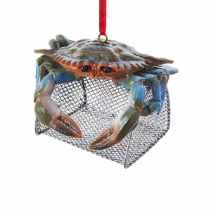 """3""""Resin Blue Crab W/Wire Cage Orn"""