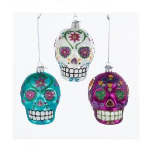 """3.5""""Noble Gems Sugar Skull Orn 3/A"""