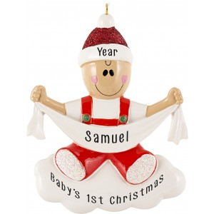 Baby with Ribbon Personalized Christmas Ornament