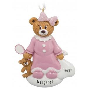 Santa Bear Girl Personalized Christmas Ornament