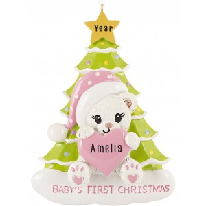 Santa Bear with Tree Girl Personalized Christmas Ornament