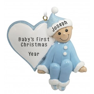 Baby Heart Boy Personalized Christmas Ornament