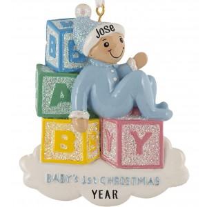 Baby Blocks Boy Personalized Christmas Ornament