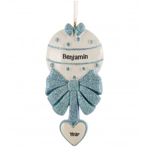 Baby Rattle Boy Personalized Christmas Ornament