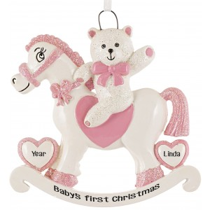 Rocking Horse Girl Personalized Christmas Ornament