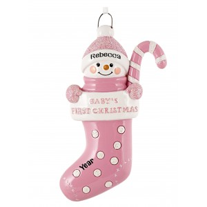 Stocking Baby Girl Personalized Christmas Ornament