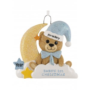 Baby Bear Moon Boy Personalized Christmas Ornament