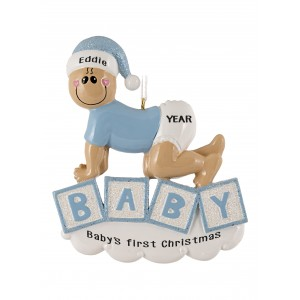 Baby Crawling Boy Personalized Christmas Ornament