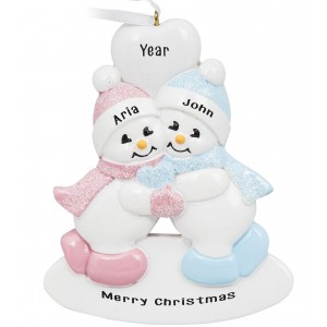 Twins Snowman Boy-Girl Personalized Christmas Ornament