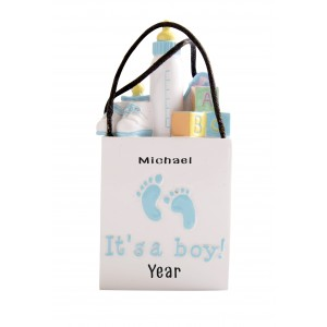 3D Shopping Bags Baby Blue Personalized Christmas Ornament