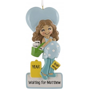 Mommy To Be Blue Personalized Christmas Ornament