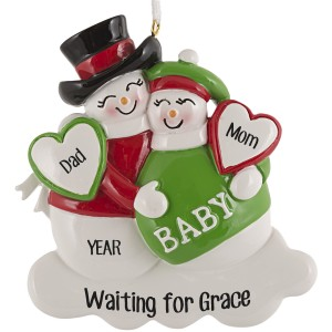 Expecting Snowman Personalized Christmas Ornament