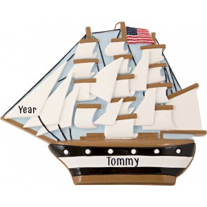 USS Constitution Personalized Christmas Ornament