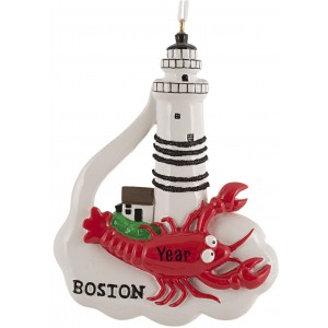 Boston Lobster Lighthouse Personalized Christmas Ornament