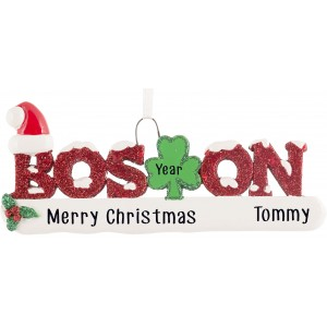 Boston Word Glittered Personalized Christmas Ornament