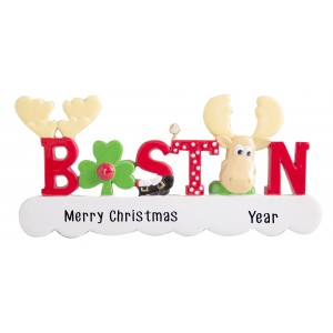 Boston Word Moose Personalized Christmas Ornament