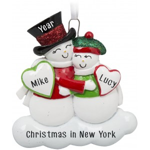Cute Snow Couple Personalized Christmas Ornament
