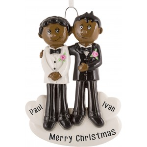Gay Couple Black & Black Personalized Christmas Ornament