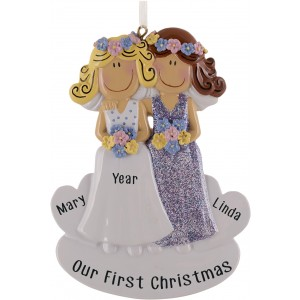 Gay Couple White & White Personalized Christmas Ornament