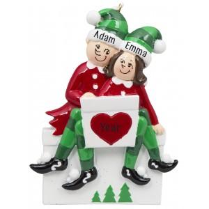 Elf Sitting on Gift Box Couple