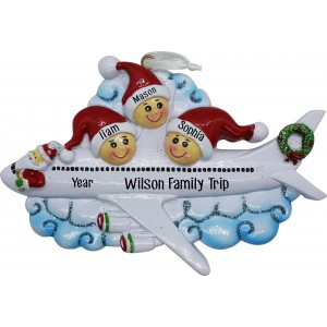 Christmas Airline Family of 3 Personalized Christmas Ornament