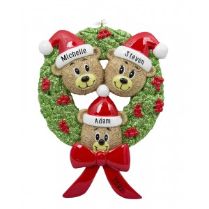 Bear Wreath Family of 3 Personalized Christmas Ornament