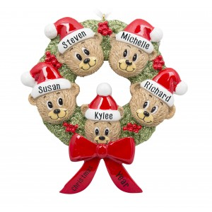 Bear Wreath Family of 5 Personalized Christmas Ornament