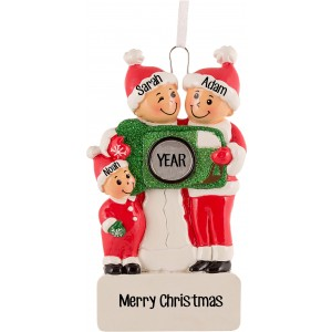Camera Family of 3 Personalized Christmas Ornament