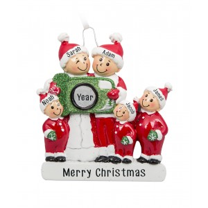 Camera Family of 5 Personalized Christmas Ornament
