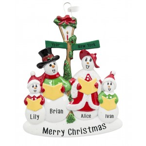 Snowman Caroler Family of 4 Personalized Christmas Ornament