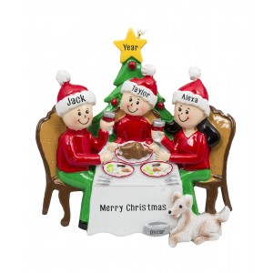 Christmas Dinner Family of 3 Personalized Christmas Ornament