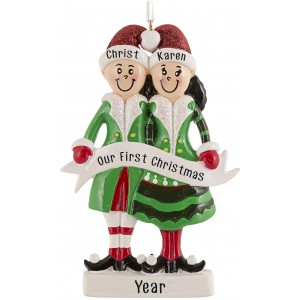 Elf Family of 2 Personalized Christmas Ornament