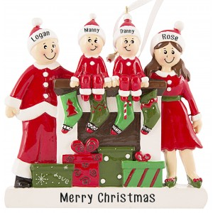 Fireplace Buddies Family of 4 Personalized Christmas Ornament