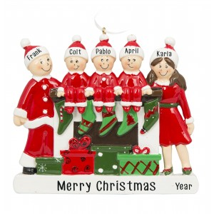 Fireplace Buddies Family of 5 Personalized Christmas Ornament